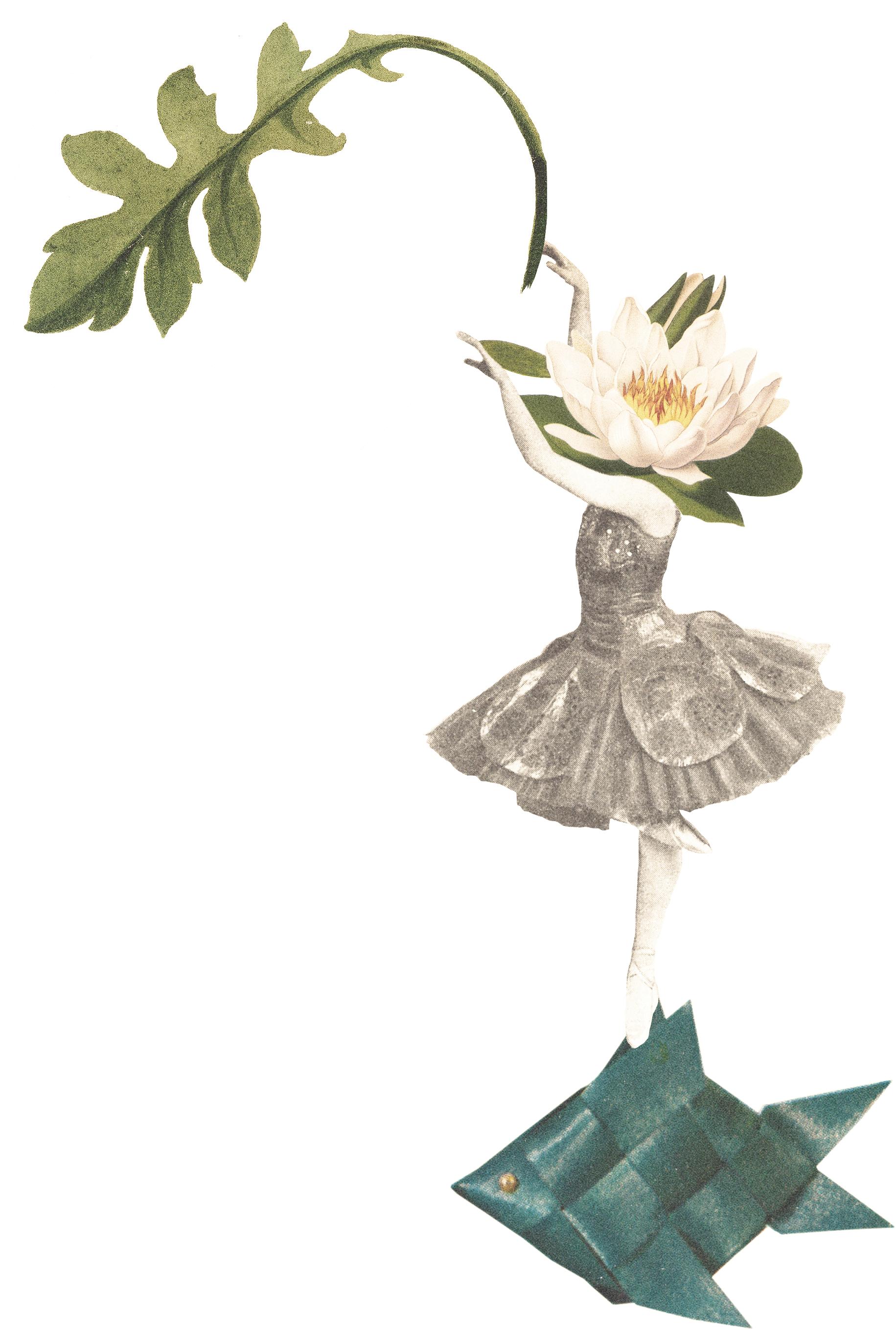Illustration av flicka, fisk och blad
