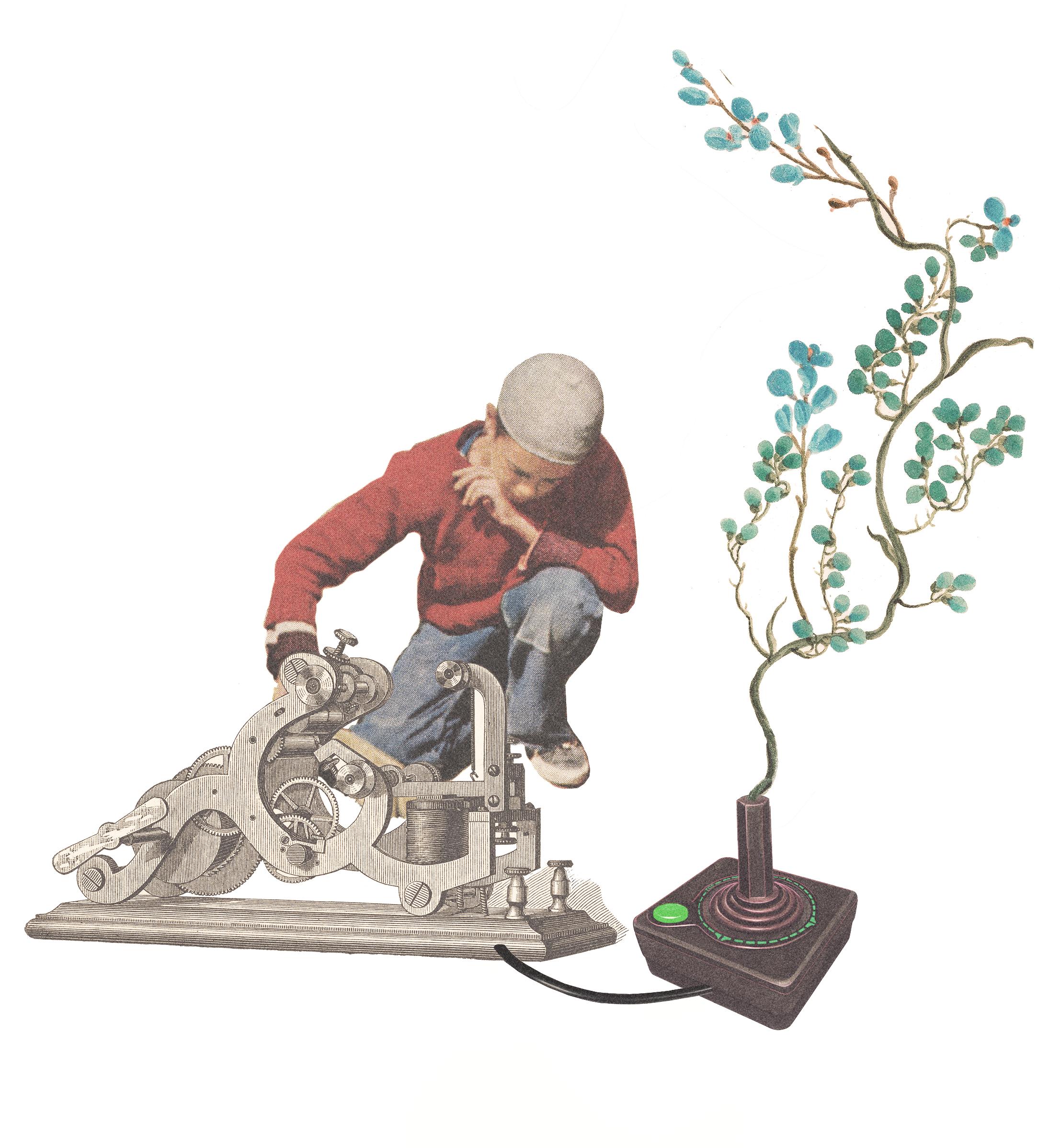 Illustration med pojke, joystick, maskin och gren